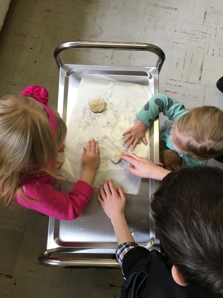 "Children Making Bread For ""Last Supper"" During Big Sunday School"