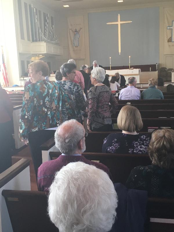 Communion at Community Worship at Arlington Forest UMC.