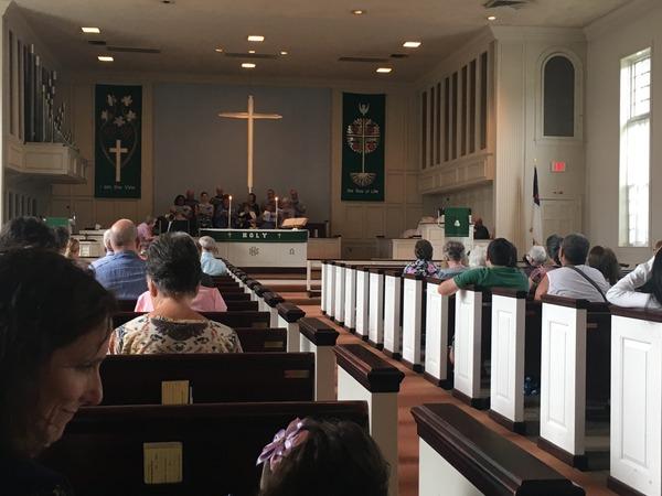 Enoying hearing the community choir.