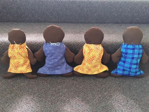 Comfort dolls hand-crafted for children in Nigeria.