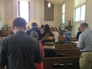 Singing at worship.