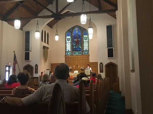 Pastor Pat preaching.