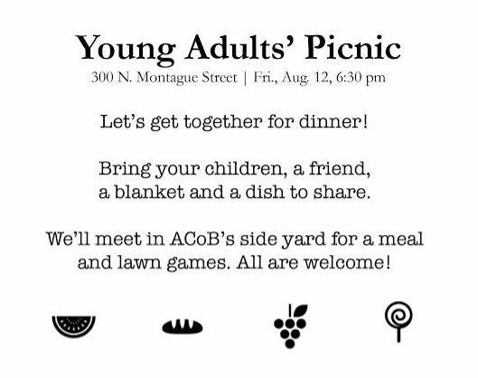 Picnic, this Friday at 6:30 pm