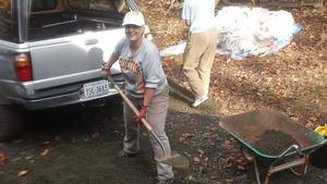 Nancy shovels gravel