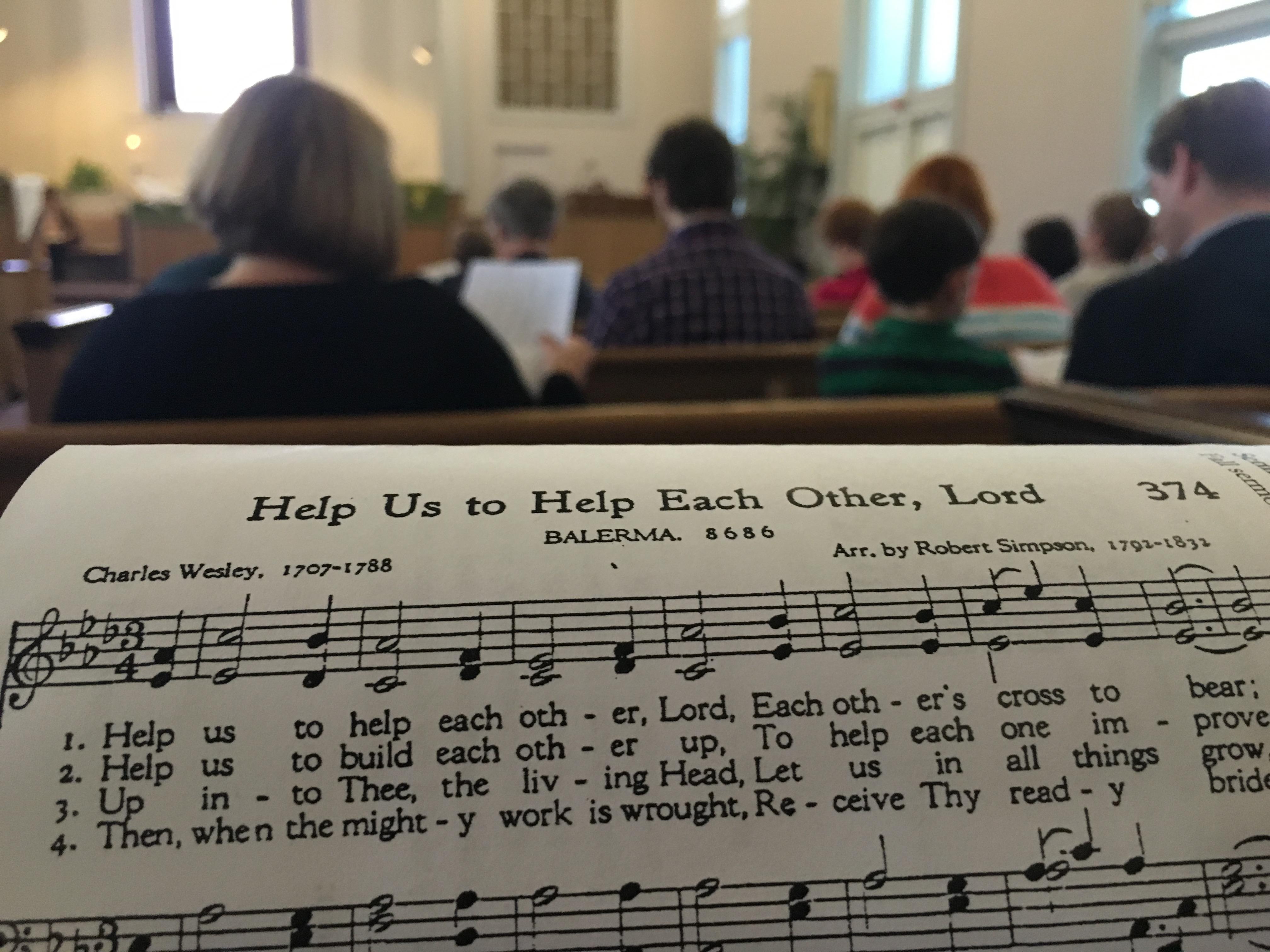 Singing a hymn